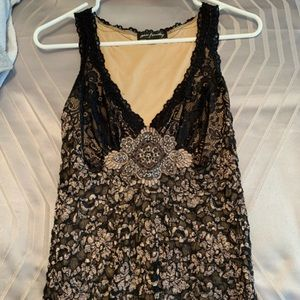 Tops - Black & Tan Embellished Lace Sleeveless Blouse